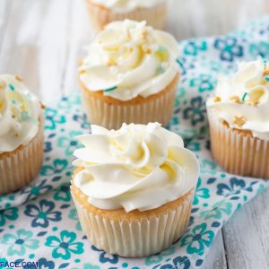 Cupcakes decorated with Swiss Meringue Buttercream Frosting Recipe