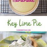 Photo of a Key Lime Pie topped with whipped cream and garnished with slices of fresh lime