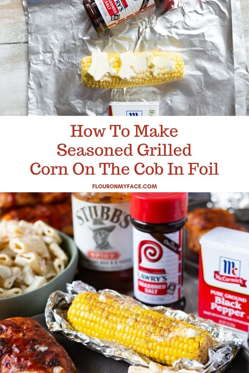 Photo showing how to season corn on the cob and wrap in foil to cook on the grill