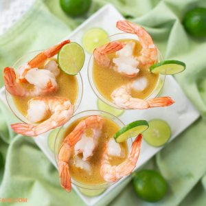 3 mini martini glassed used to serve Shrimp appetizers served with Key Lime Mustard sauce