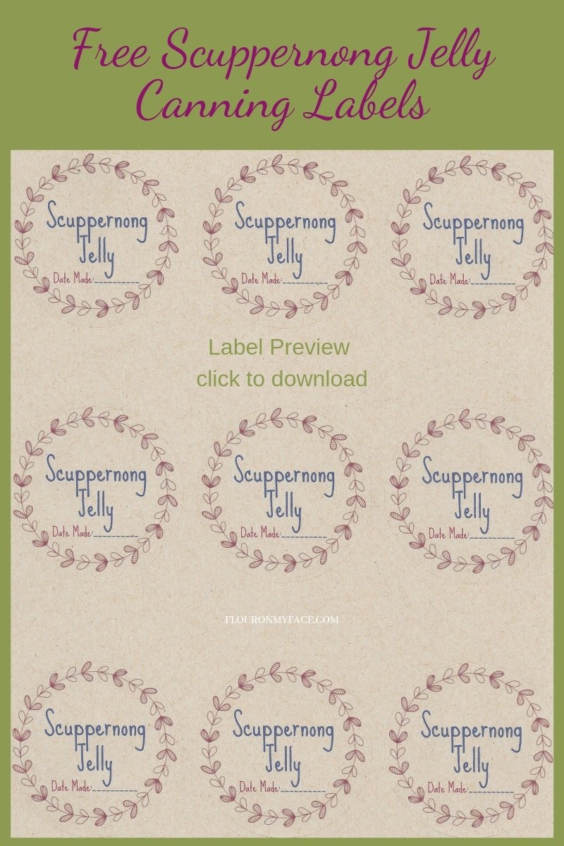 Preview photo of printable Scuppernong Jelly Canning Label