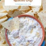 Crock Pot White Queso Dip in a bowl surrounded by tortilla chips