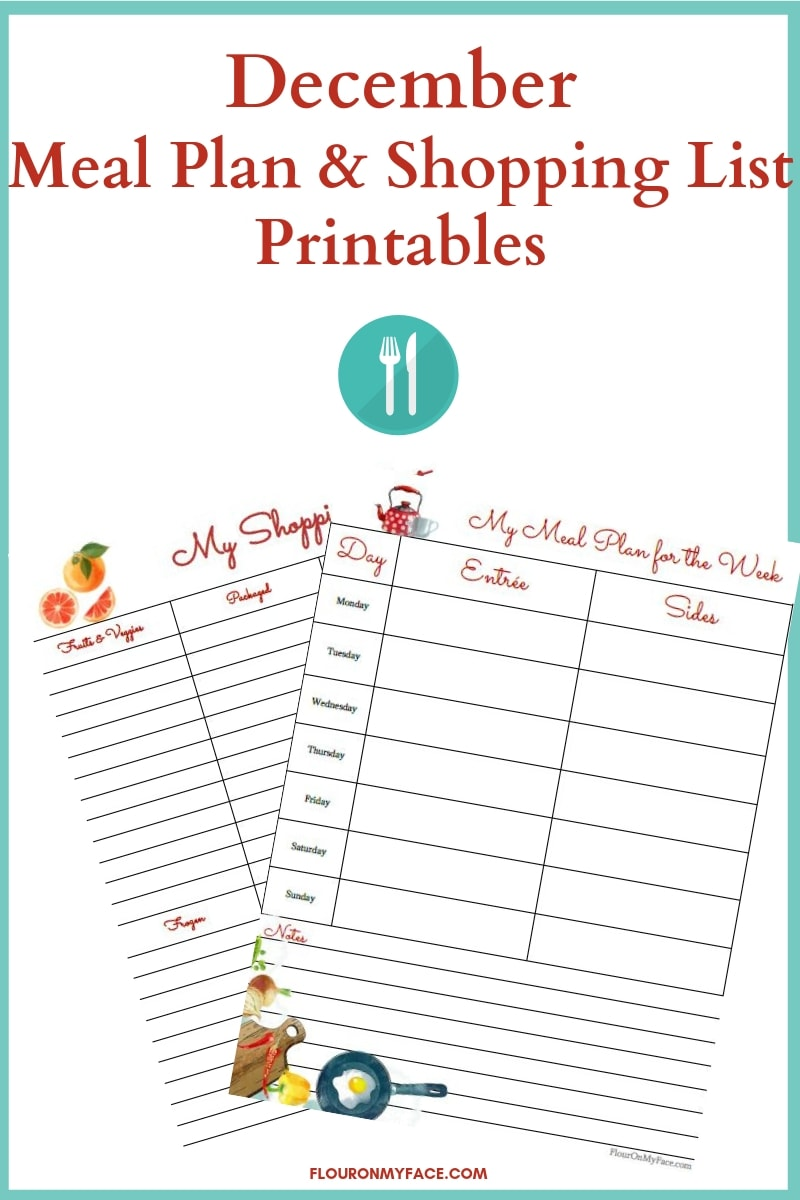 December Meal Plan and Shopping List Printables preview image
