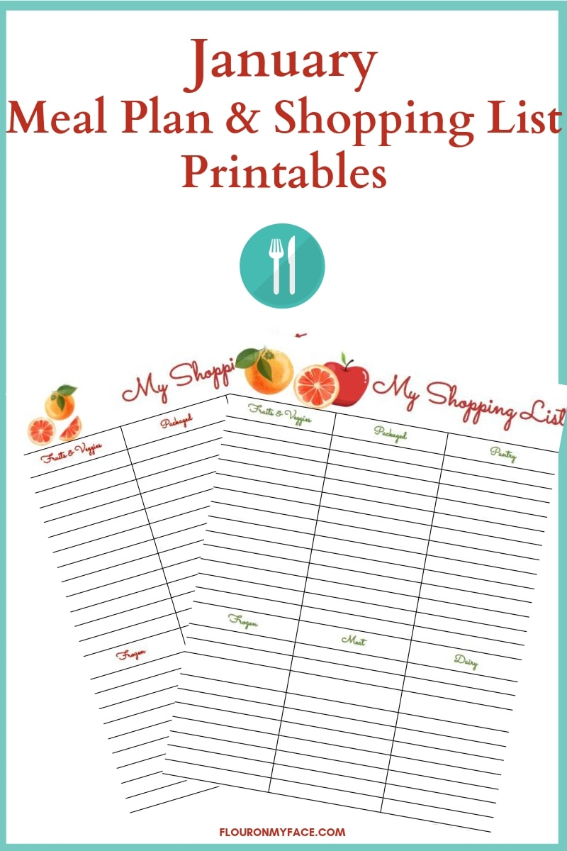 January Meal Plan and Shopping List Printables preview image