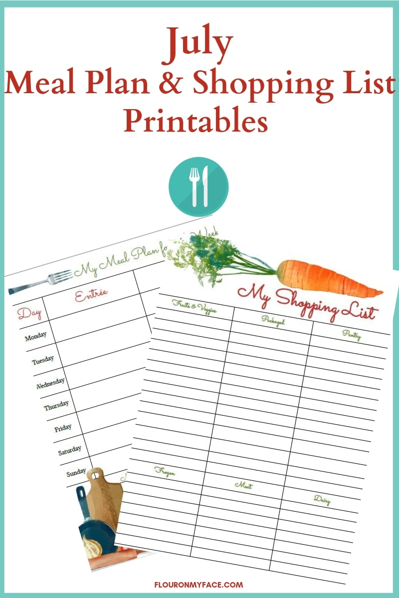July Meal Plan and shopping list printables preview image