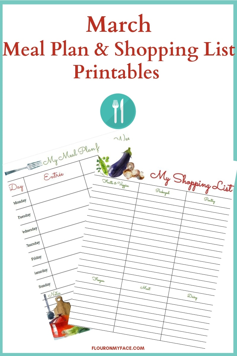 March Meal Plan and Shopping List Printables preview