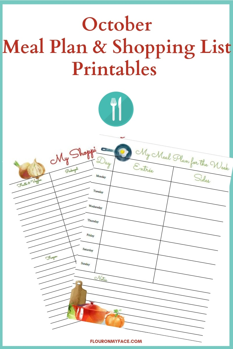 October Meal Plan and Shopping List Printables preview image