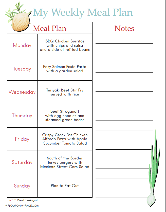 A preview image for the August Weekly Meal Plan 1 Menu Plan showing each day of the week and the meal.