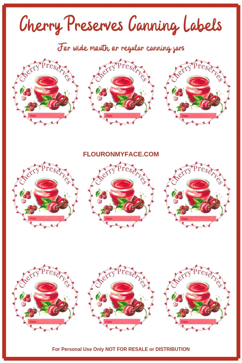 Preview image of custom designed Cherry Preserves canning label for wide mouth or regular mouth canning label lids