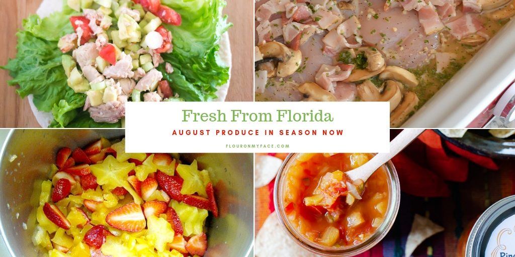 collage image of recipes using produce in season for August