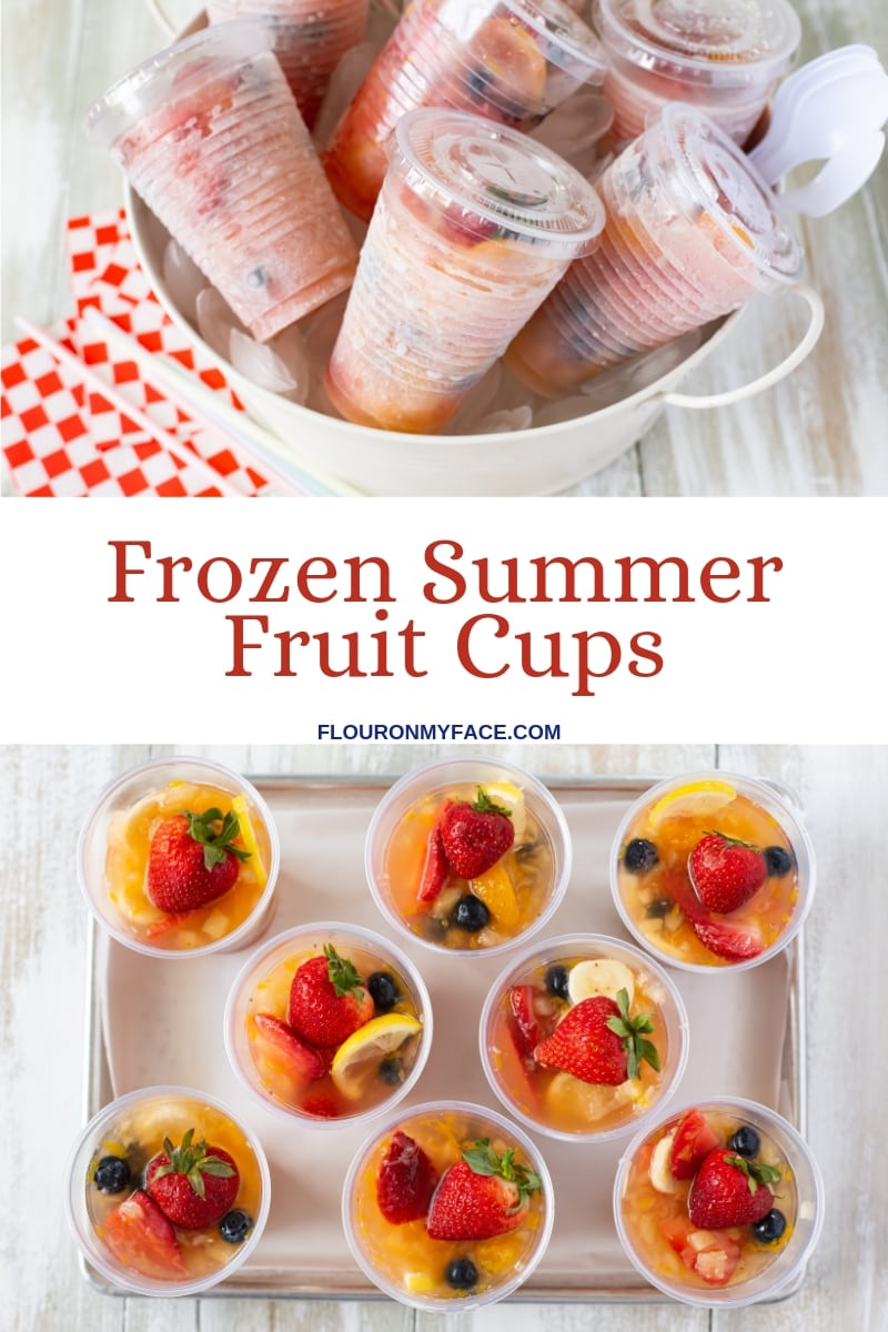 collage photo with the Frozen Fruit Punch Cups in individual plastic cups with lids at the top and on the bottom is the unfrozen ingredients in the cups before going into the freezer. A frozen treat for the Fourth of July