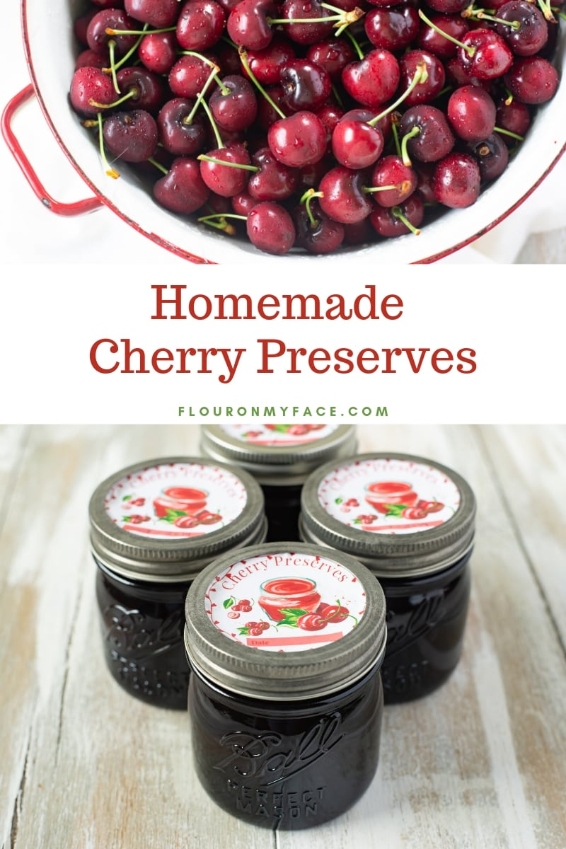 Photo of fresh cherries in a white galvanized colander with a photo of homemade cherry preserves in Ball canning jars featuring a custom designed Cherry Preserves Canning Label