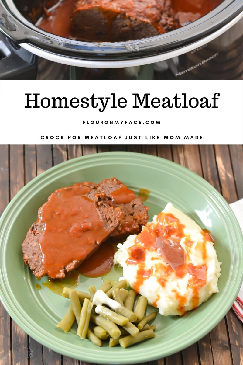Crock Pot Meatloaf dinner on a plate. Two slices of the cooked meatloaf covered in tomato gravy with a side of mashed potatoes and green beans.