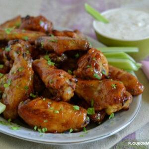 a platter full of Honey BBQ Chicken Wings