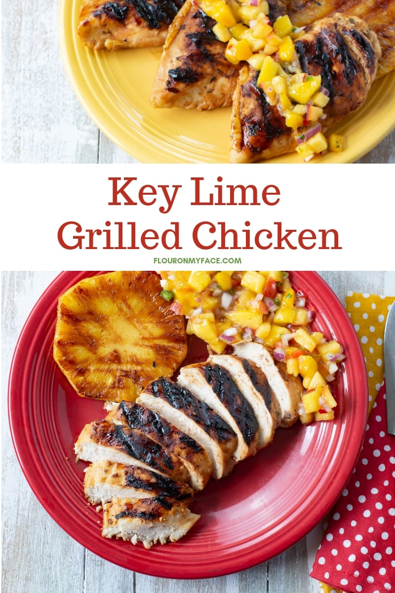 A red Fiesta-ware plate with a piece of Key Lime Grilled Chicken that has been sliced, which a slice of grilled pineapple and a serving of homemade Mango salsa