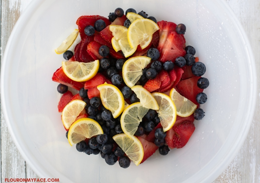 a plastic bowl with sliced strawberries, fresh blueberries and thinly sliced lemon slices.