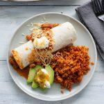 overhead photo of a serving of Crock Pot Chicken Burritos