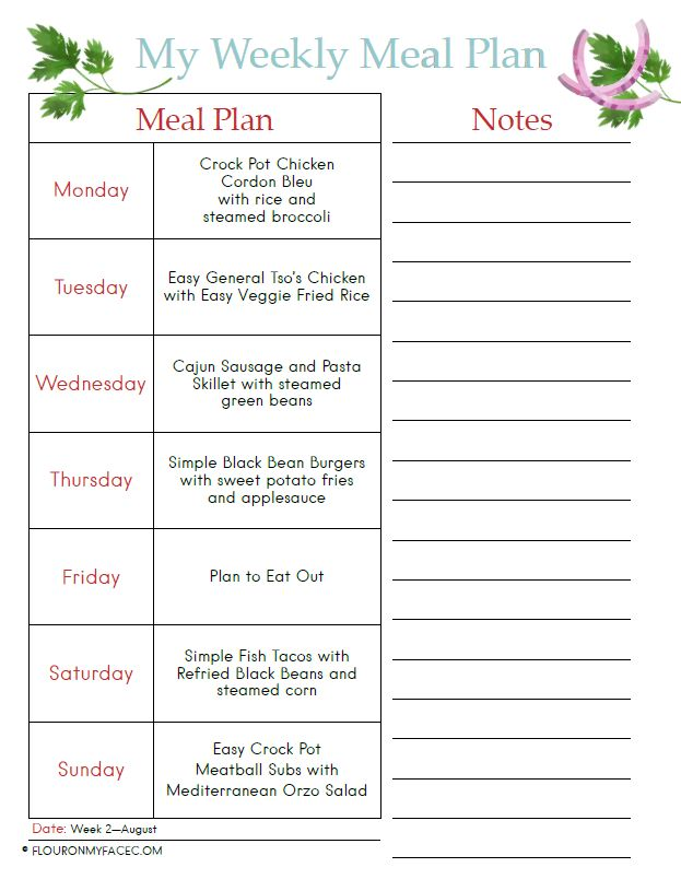 Preview image of the August Weekly Meal Plan Printable