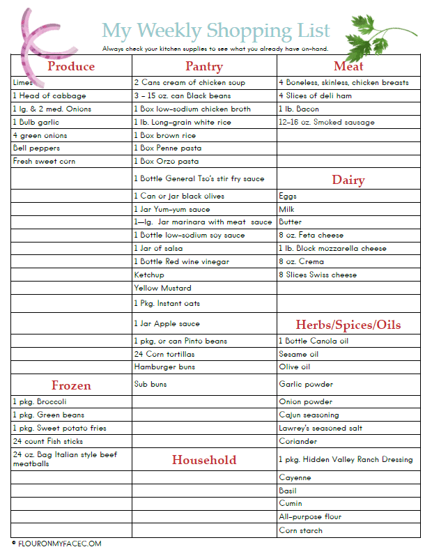 Preview image of the August weekly meal plan shopping list printable