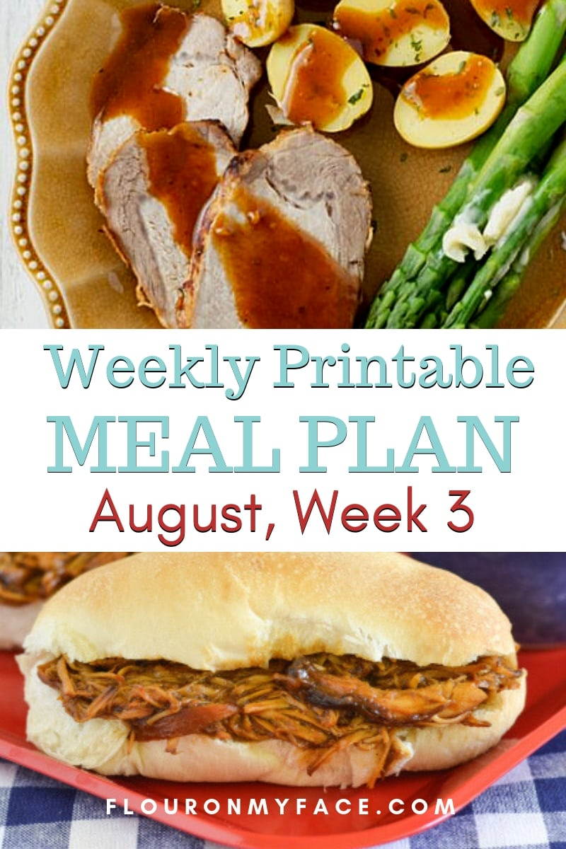 collage photo with a preview of recipes included in the August Weekly Meal Plan 3