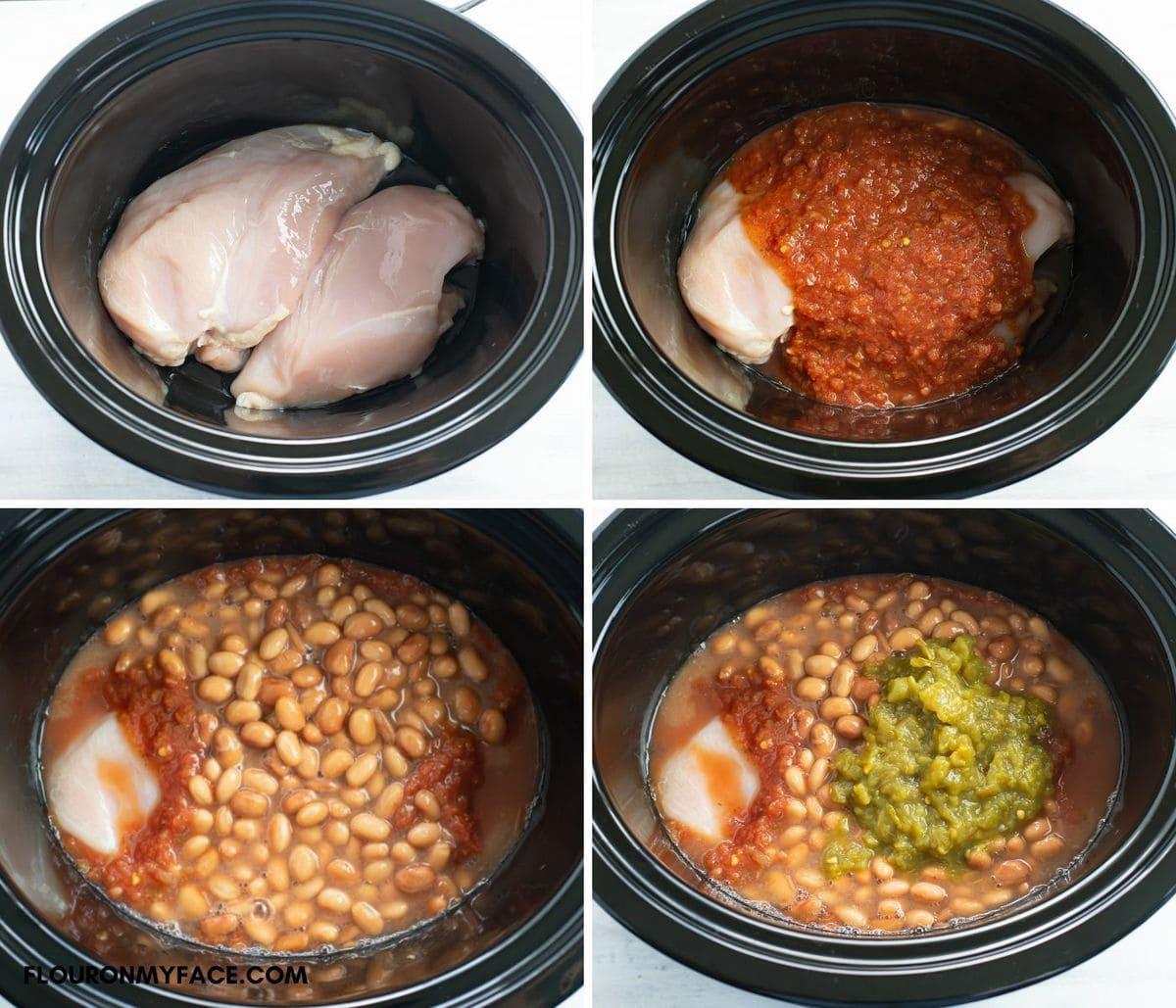 4 Step image adding chicken burritos ingredients to the crock pot.