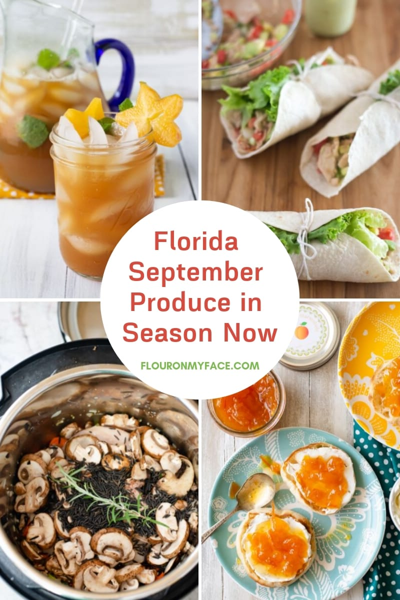 Collage image of 4 recipes using featured fresh Florida produce that is in season during the moth of September.
