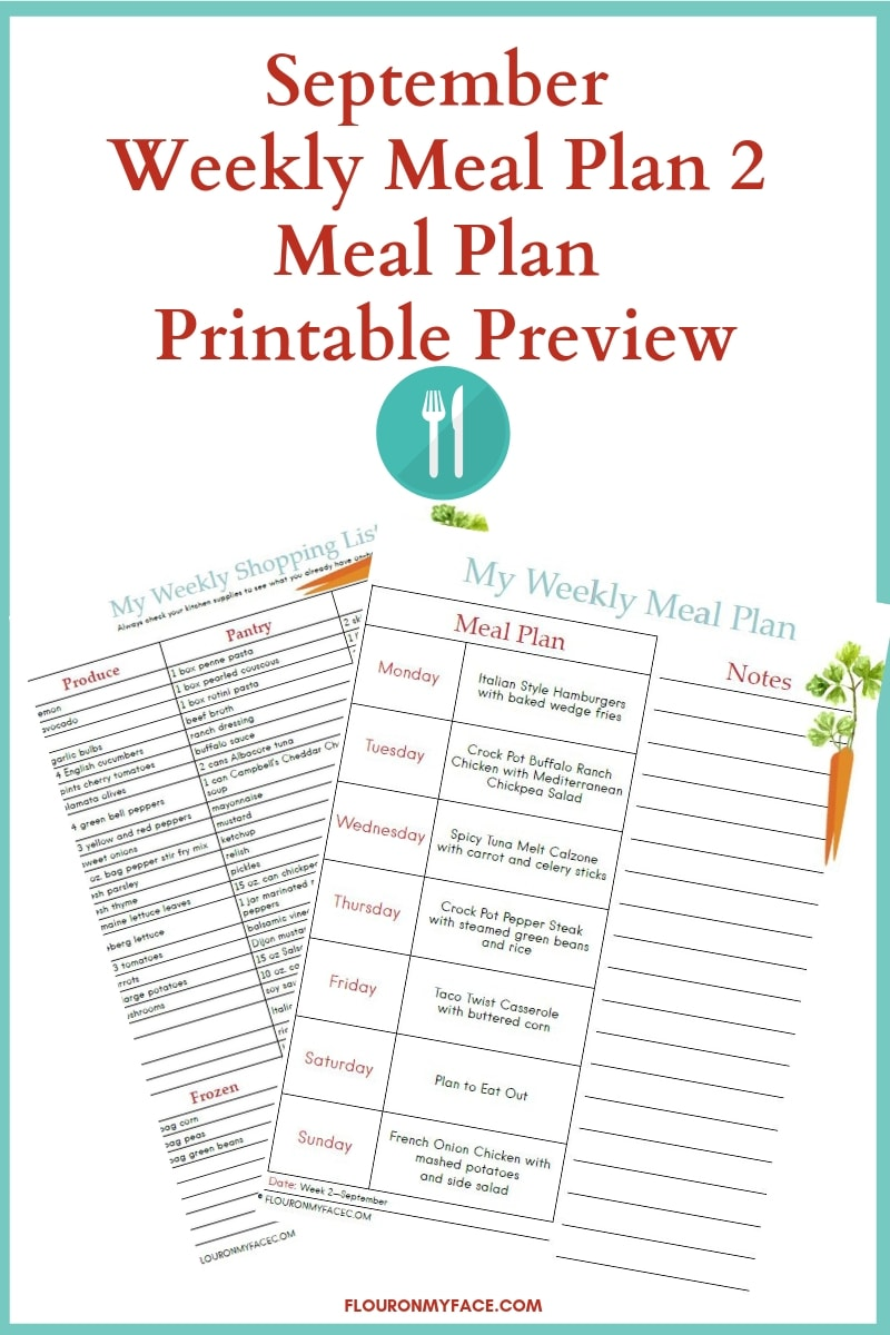 September Weekly Meal Plan Printables Preview image
