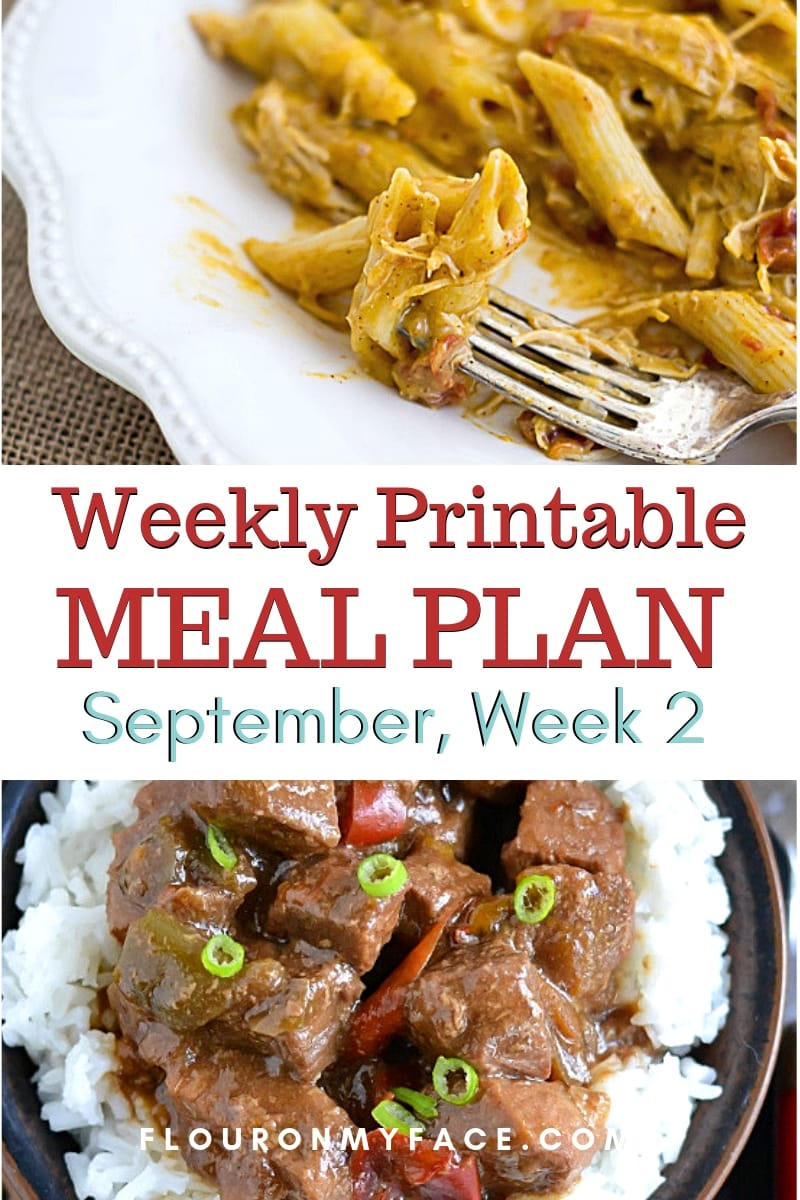 preview image for the September weekly meal plan 1 menu with shopping list
