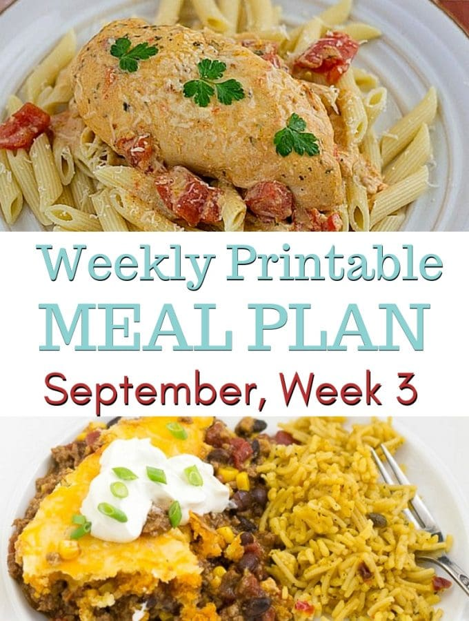 preview image for the September weekly meal plan