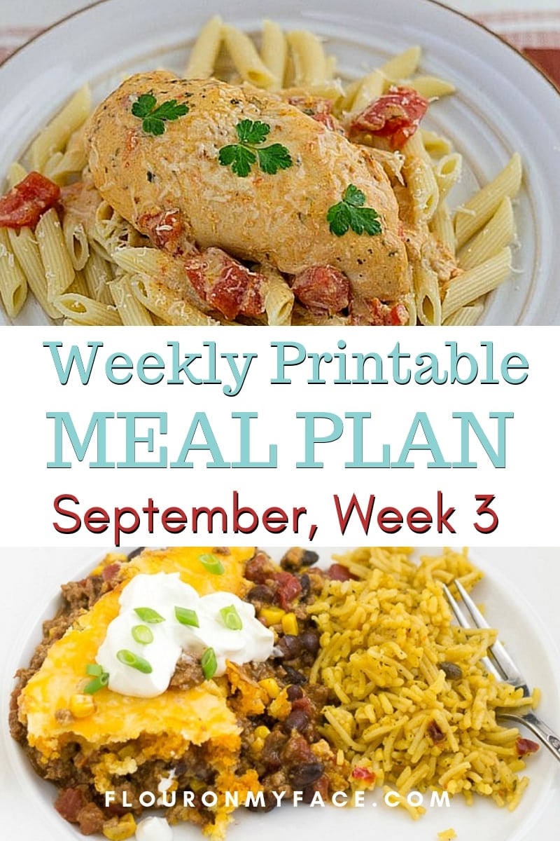 preview image for the recipes included in the September Weekly Meal Plan 3