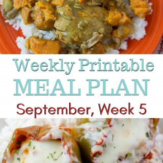 preview image for the September Weekly Meal Plan menu week 5 with printable shopping list