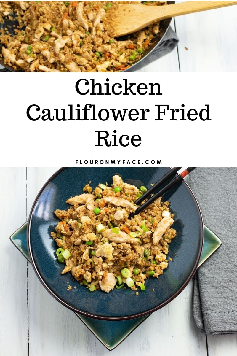 Featured image for the Chicken Cauliflower Fried Rice recipe - a bowl filled with a serving of low carb fried rice.
