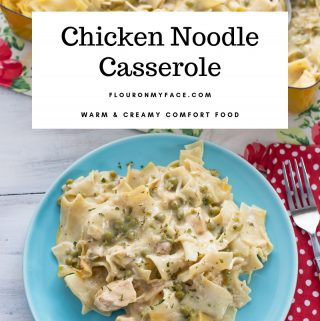 featured image for the Chicken Noodle Casserole recipe. A dinner plate with a serving of chicken noodle casserole.