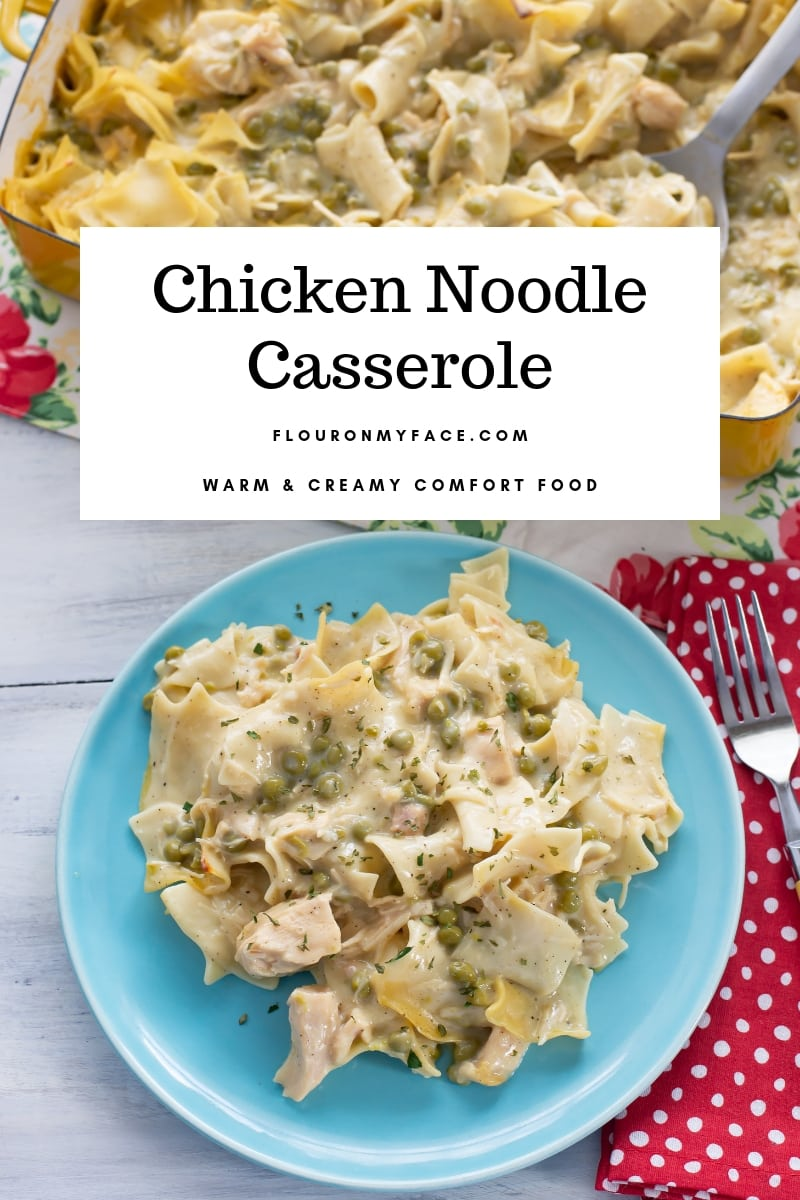 Featured image for the Chicken Noodle Casserole recipe. A photo with a serving of the casserole on a light blue vintage plate.
