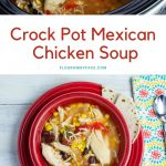 Crock Pot Mexican Chicken Soup recipe served in a red Fiestaware bowl
