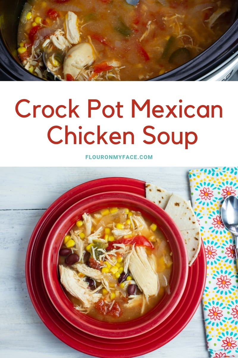 Crock Pot Mexican Chicken Soup recipe featured photo showing a red Fiesta-ware bowl filled with a serving of this meaty chicken soup recipe.