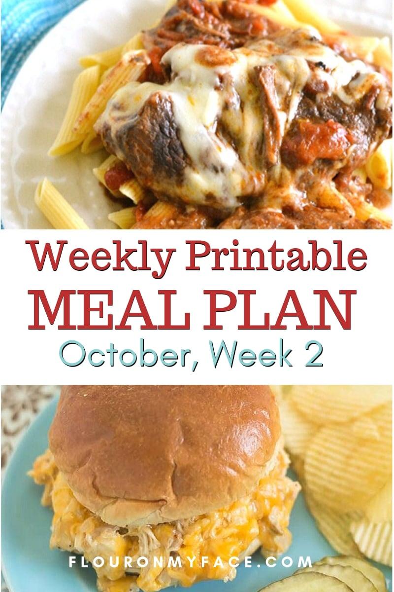 Preview image of the October Meal Plan Week 2 menu