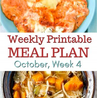 Preview image of October Meal Plan 4 with free Printables