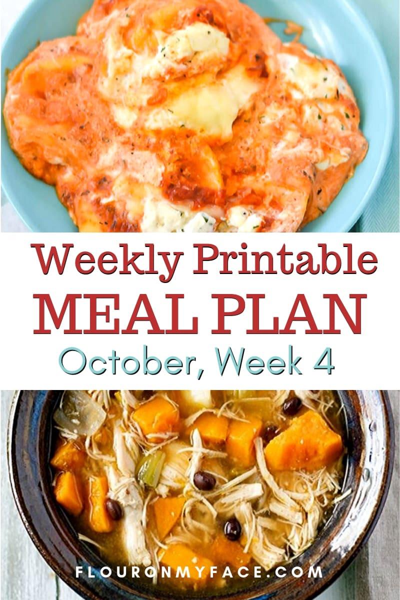 October Meal Plan Week 4 menu preview image
