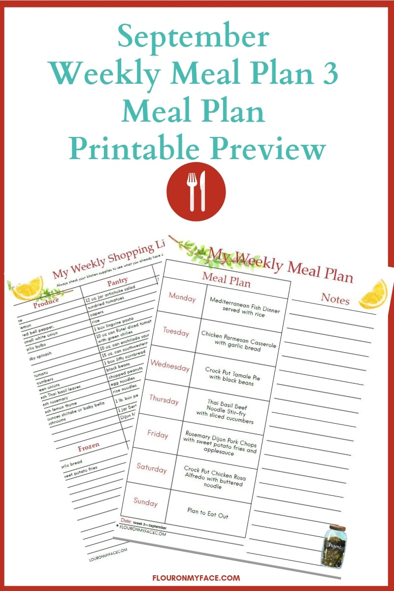 Collage image of the September Weekly Meal Plan Printable Preview