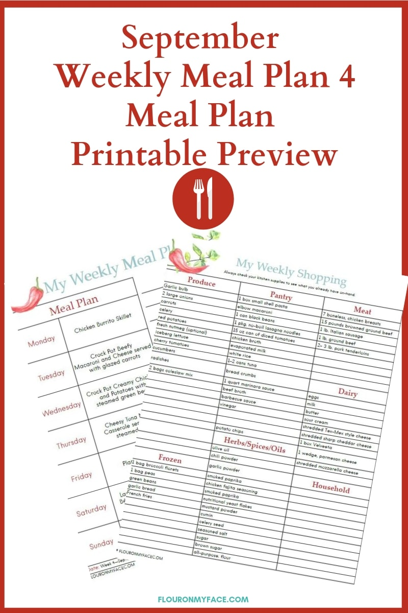 September Weekly Meal Plan 4 meal Plan and Shopping list printable preview