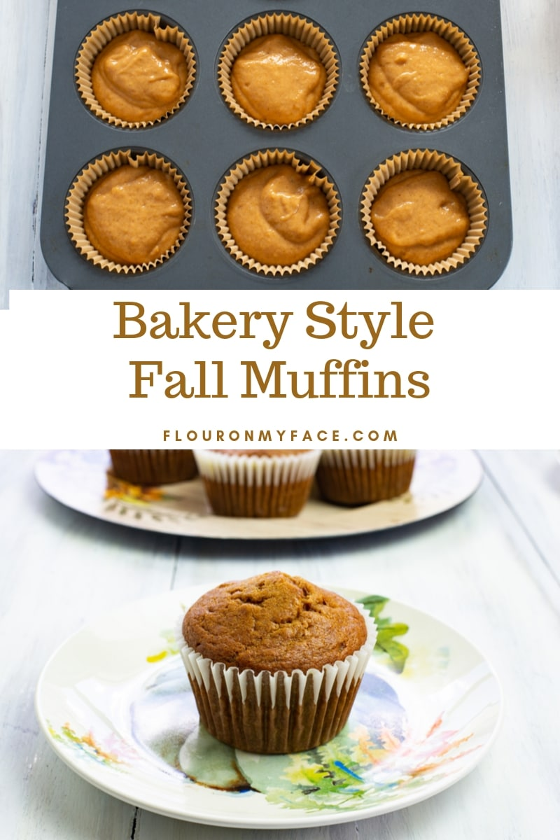 Collage photo of Pumpkin Spice Peanut Butter Muffin batter and a finished muffin