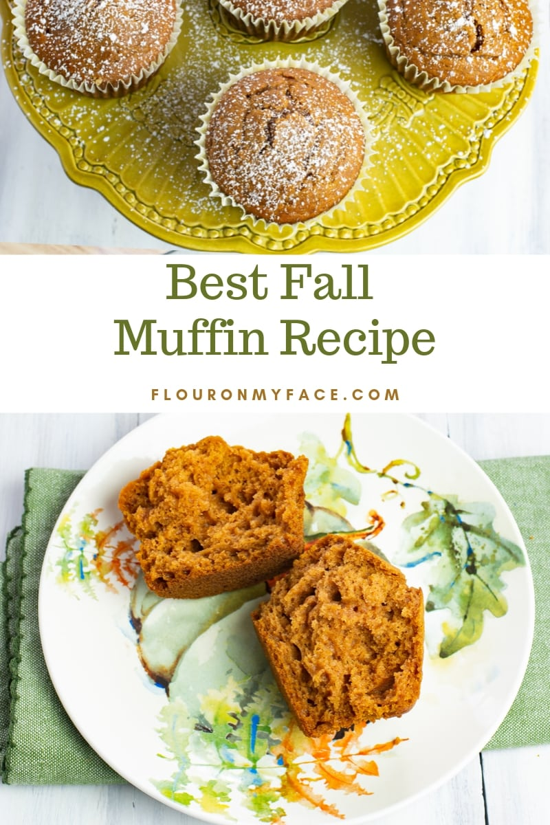 A Pumpkin Spice Muffin cut in half on a fall plate