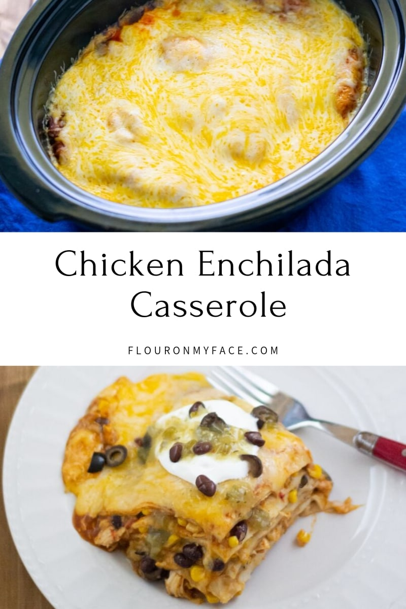 featured image showing the Crock Pot Chicken Enchilada Casserole recipe in the crock pot and a serving on a plate.