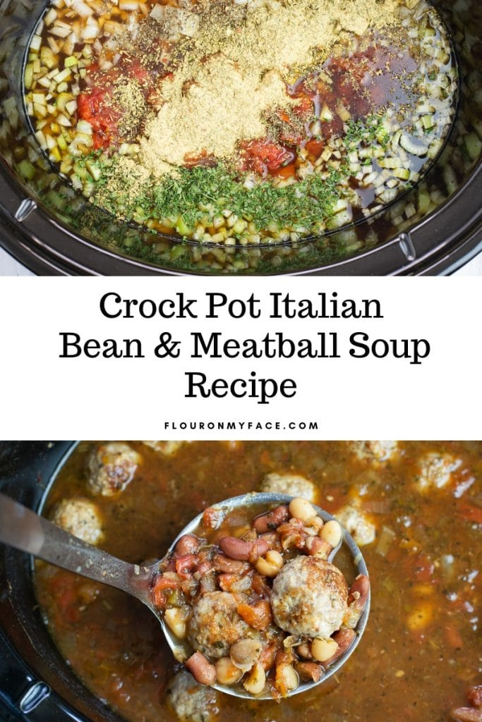 Italian Bean Meatball soup in the crock pot as it begins to cook and the finished soup