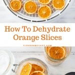 How to dehydrate orange slices to use as garnishes and to make holiday decorations.
