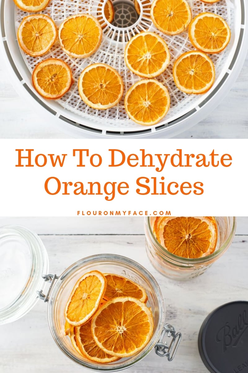 Overhead featured image of dehydrated oranges slices in the dehydrator and in mason jars for easy storage