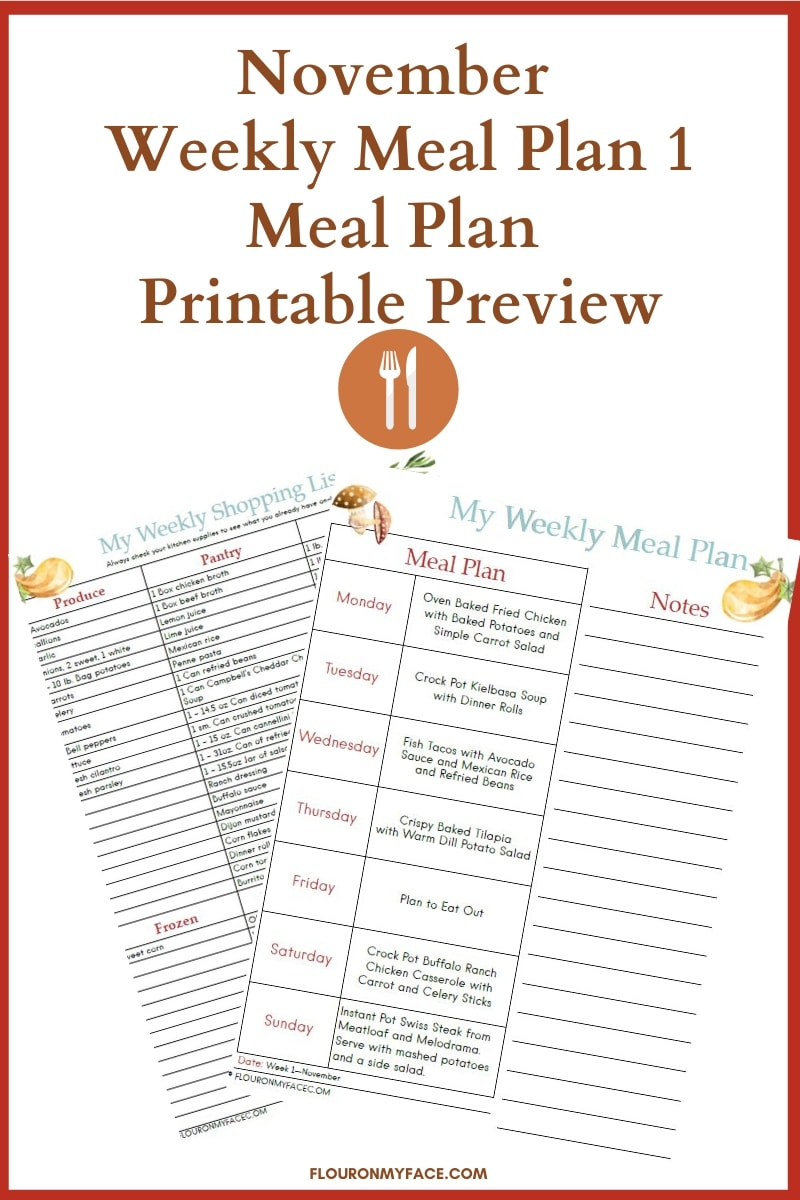 November Weekly Meal Plan 1 Menu and shopping list printable preview image