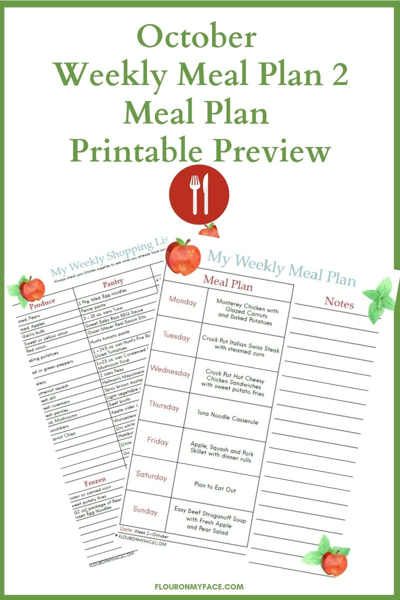 October Meal Plan Week 2 printable preview image of the menu plan printable and shopping list printable