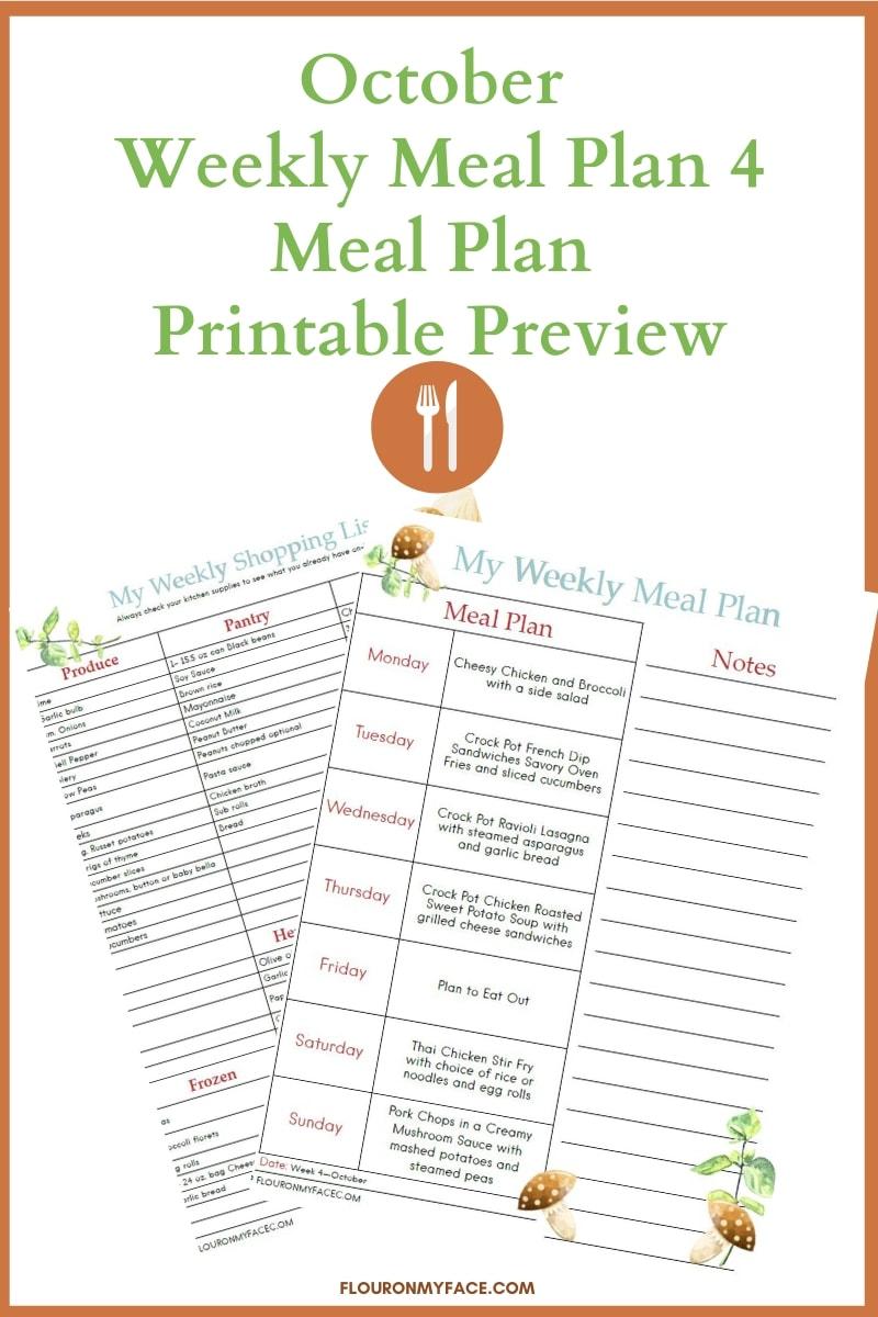 October Meal Plan 4 Printables